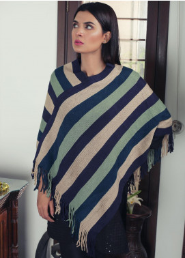 Sanaulla Exclusive Range Textured Acrylic Free Size Ponchos 19-09 Multi - Winter Collection