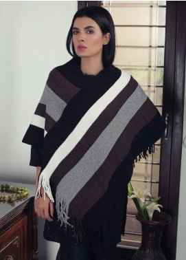Sanaulla Exclusive Range Textured Acrylic Free Size Ponchos 19-12 Multi - Winter Collection