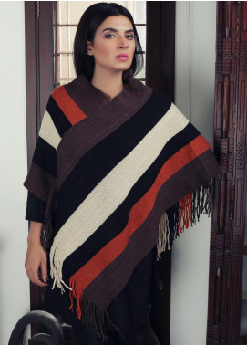 Sanaulla Exclusive Range Textured Acrylic Free Size Ponchos 19-14 Multi - Winter Collection