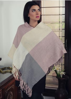 Sanaulla Exclusive Range Textured Acrylic Free Size Ponchos 19-21 Multi - Winter Collection