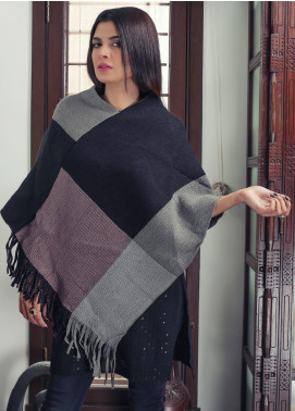Sanaulla Exclusive Range Textured Acrylic Free Size Ponchos 19-26 Multi - Winter Collection