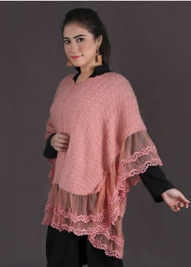Sanaulla Exclusive Range Embroidered Acrylic Free Size Ponchos 19 - Winter Collection