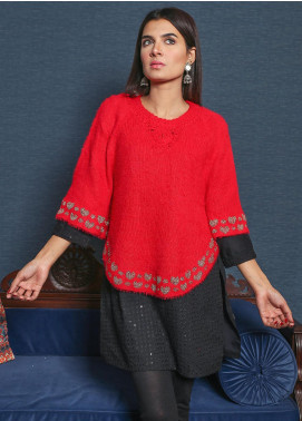 Sanaulla Exclusive Range Textured Acrylic Free Size Ponchos 19-F8035-Red - Winter Collection