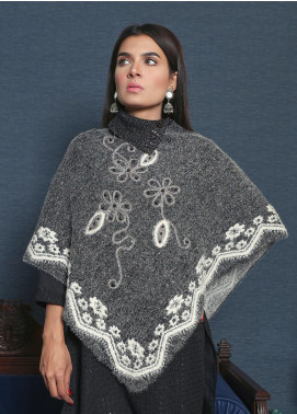 Sanaulla Exclusive Range Embroidered Acrylic Free Size Ponchos 19-F9020-2-Dark Grey - Winter Collection