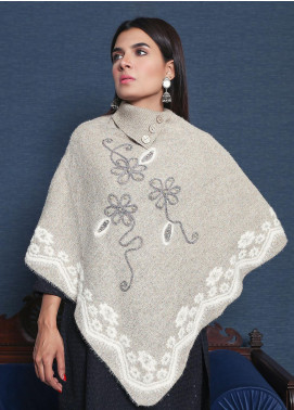 Sanaulla Exclusive Range Embroidered Acrylic Free Size Ponchos 19-F9020-2-Fawn - Winter Collection