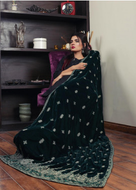 Sanaulla Exclusive Range Embroidered Velvet  Shawl 19-AKP-319 Green - Winter Collection