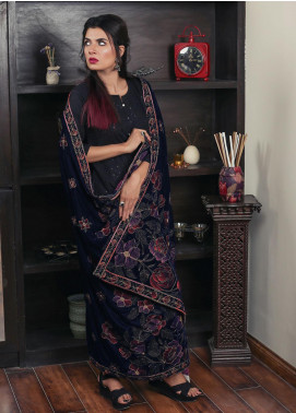 Sanaulla Exclusive Range Embroidered Velvet  Shawl 19-AKP-320 Blue - Winter Collection