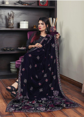 Sanaulla Exclusive Range Embroidered Velvet  Shawl 19-AKP-321 Purple - Winter Collection