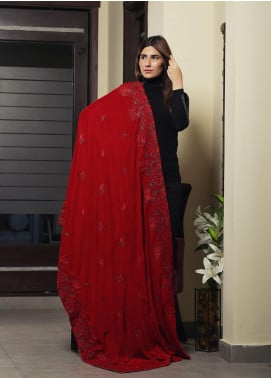 Sanaulla Exclusive Range Embroidered Velvet  Shawl 19-AKP-323 Red - Winter Collection