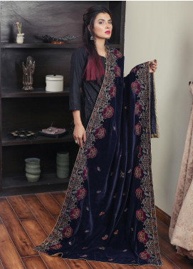 Sanaulla Exclusive Range Embroidered Velvet  Shawl 19-AKP-325 Blue - Winter Collection
