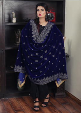 Sanaulla Exclusive Range Embroidered Velvet  Shawl 19-AKP-328 Royal Blue - Winter Collection