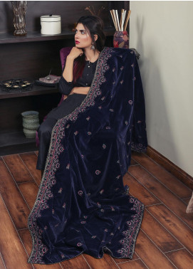 Sanaulla Exclusive Range Embroidered Velvet  Shawl 19-AKP-329 Blue - Winter Collection