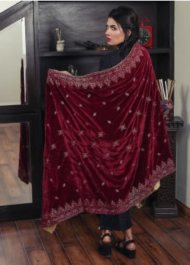 Sanaulla Exclusive Range Embroidered Velvet  Shawl 19-AKP-332 Maroon - Winter Collection