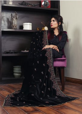 Sanaulla Exclusive Range Embroidered Velvet  Shawl 19-AKP-334 Black - Winter Collection