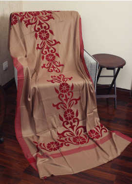 Sanaulla Exclusive Range Embossed Velvet  Shawl 19-MIR-133 Fawn - Winter Collection