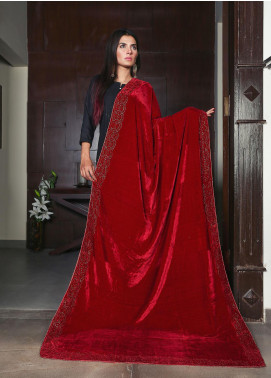 Sanaulla Exclusive Range Embroidered Velvet  Shawl 19-MIR-416 Red - Winter Collection