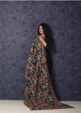 Sanaulla Exclusive Range Embroidered Velvet Shawl Makhmali Poshak-Blue - Winter Collection