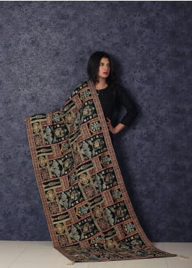Sanaulla Exclusive Range Embroidered Velvet Shawl Makhmali Poshak-Green - Winter Collection