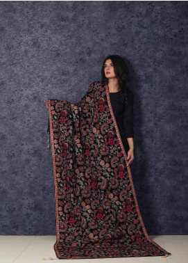 Sanaulla Exclusive Range Embroidered Velvet  Shawl Rosy Velvet-Black - Winter Collection