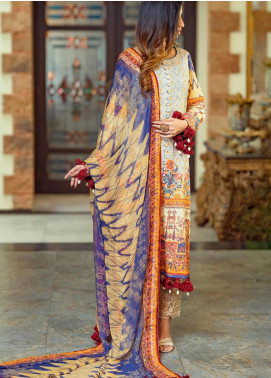 Lamha by Tarzz Embroidered Lawn Unstitched 3 Piece Suit TRZ20L L20-F1-02 - Spring / Summer Collection