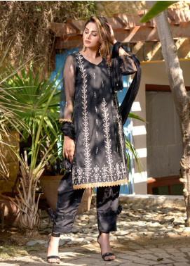 Layla Luxe by Elaheh Embroidered Organza Unstitched 3 Piece Suit ELH20LY 03 - Luxury Collection