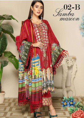 Libaas By Nawaz Fabrics Embroidered Linen Unstitched 3 Piece Suit NF20L 02B - Winter Collection