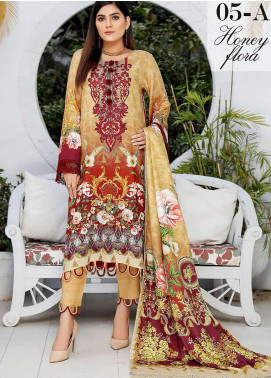 Libaas By Nawaz Fabrics Embroidered Linen Unstitched 3 Piece Suit NF20L 05A - Winter Collection