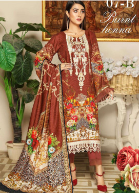 Libaas By Nawaz Fabrics Embroidered Linen Unstitched 3 Piece Suit NF20L 07B - Winter Collection