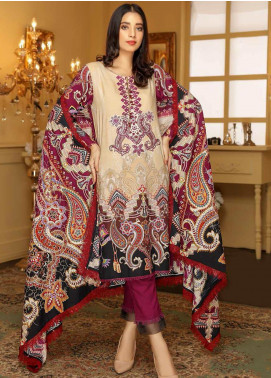 Libaas Embroidered Linen Unstitched 3 Piece Suit LB19W 1B - Winter Collection