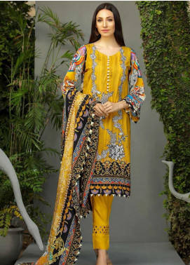 Libaas Embroidered Linen Unstitched 3 Piece Suit LB19W 8A - Winter Collection