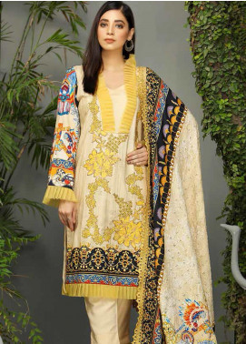 Libaas Embroidered Linen Unstitched 3 Piece Suit LB19W 8B - Winter Collection