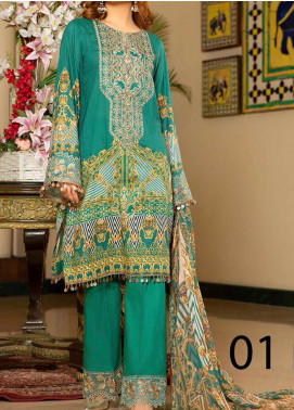 Libaas Embroidered Lawn Unstitched 3 Piece Suit LB20E 01-B - Luxury Collection