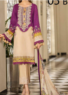 Libaas Embroidered Lawn Unstitched 3 Piece Suit LB20E 05-B - Luxury Collection