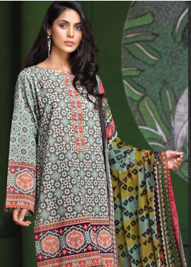 LimeLight Printed Lawn Unstitched 2 Piece Suit LL19L U0693 Grey Folk Fusion - Spring / Summer Collection