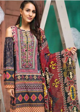 LimeLight Printed Lawn Unstitched 2 Piece Suit LL19L U0737 Blue Vintage Tribes - Spring / Summer Collection
