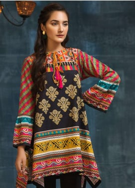 LimeLight Printed Cotton Unstitched Kurties LL18W 491 Black - Winter Collection