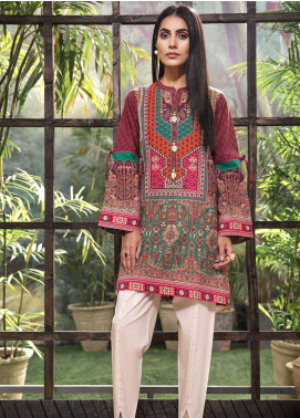 LimeLight Printed Cotton Unstitched Kurties LL18-W3 276 Maroon - Winter Collection