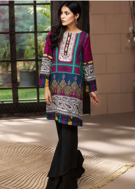 LimeLight Printed Khaddar Unstitched Kurties LL18-W3 468 Blue - Winter Collection