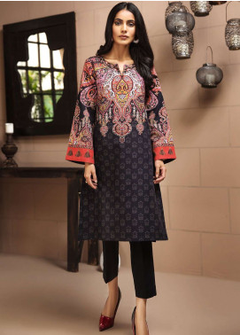 LimeLight Printed Khaddar Unstitched Kurties LL18-W3 537 Black - Winter Collection