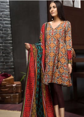 LimeLight Printed Khaddar Unstitched 2 Piece Suit LL18-W3 557 Brown - Winter Collection