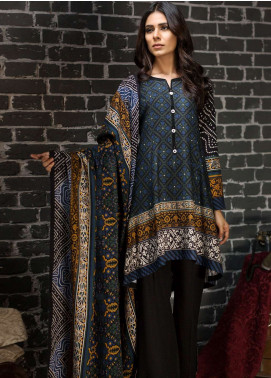 LimeLight Printed Khaddar Unstitched 2 Piece Suit LL18-W3 559 Black - Winter Collection