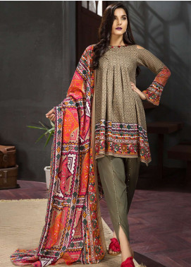 LimeLight Printed Khaddar Unstitched 2 Piece Suit LL18-W3 569 Beige - Winter Collection