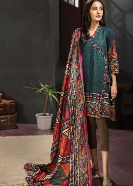 LimeLight Printed Khaddar Unstitched 2 Piece Suit LL18-W3 569 Green - Winter Collection