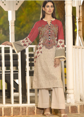 LimeLight Printed Khaddar Unstitched Kurties LL19W U0829 Beige - Winter Collection