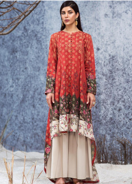 LimeLight Printed Jacquard Unstitched Kurties LL19W U0860 Orange - Winter Collection