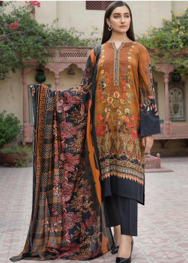LimeLight Printed Khaddar Unstitched 2 Piece Suit LL19W U0864 Rust - Winter Collection