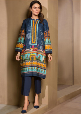 LimeLight Printed Khaddar Unstitched 2 Piece Suit LL19W U0865 Blue - Winter Collection