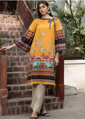 LimeLight Printed Khaddar Unstitched 2 Piece Suit LL19W U0865 Yellow - Winter Collection