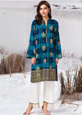 LimeLight Printed Khaddar Unstitched Kurties LL19W U0906 Blue - Winter Collection