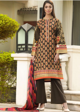LimeLight Printed Cotton Unstitched 2 Piece Suit LL19W U0907 Brown - Winter Collection